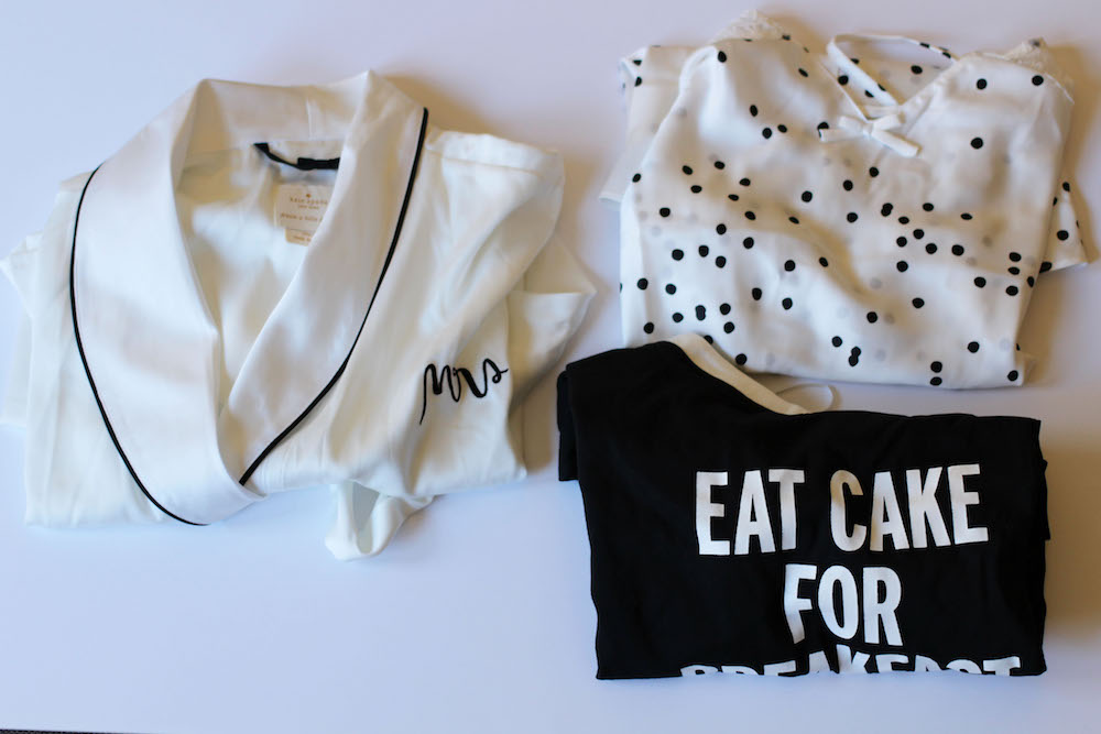 Kate Spade Mrs. Robe, Lace Trim Dot Print Satin Romper, and Graphic Sleep Shirt