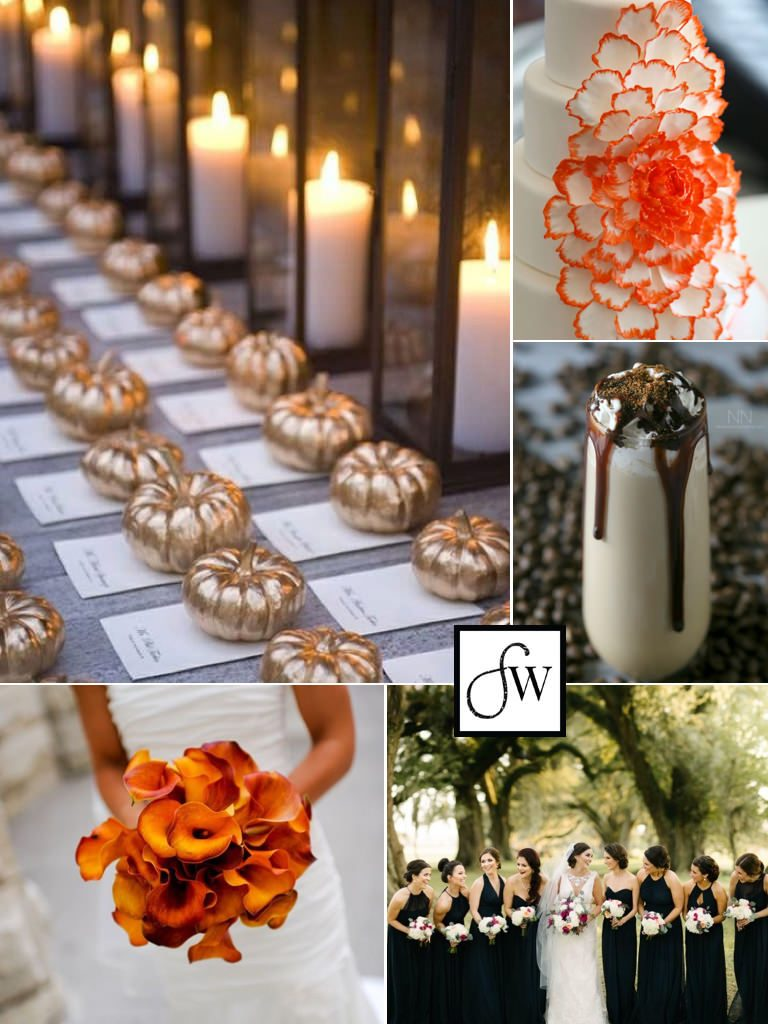 An elegant Halloween wedding inspiration board, with advice on how to incorporate Halloween elements into your wedding