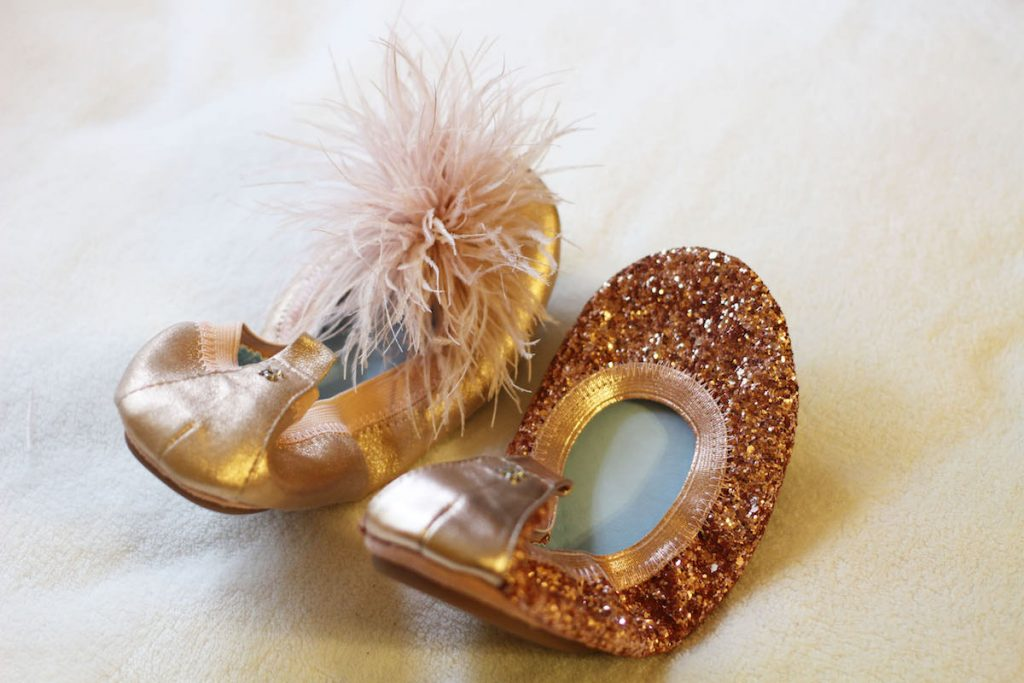 "Yosi Samra bridal Serana glitter flats in rose gold and ""marry me maribou"" in rose gold & blush"