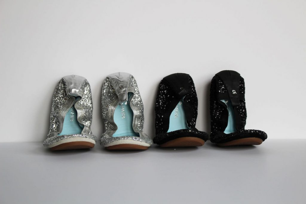 Yosi Samra bridal Serena glitter flats in platinum and black