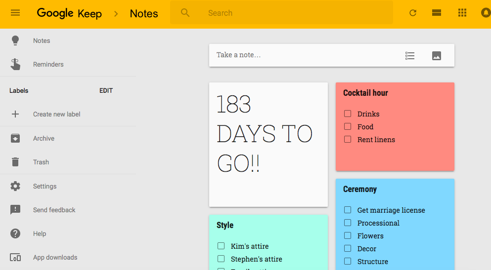 Wedding planning with Google Keep
