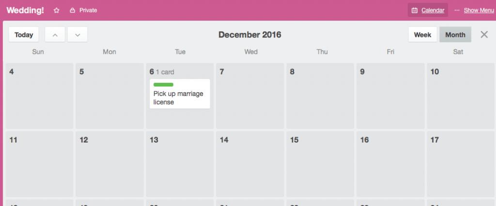 Wedding planning with Trello