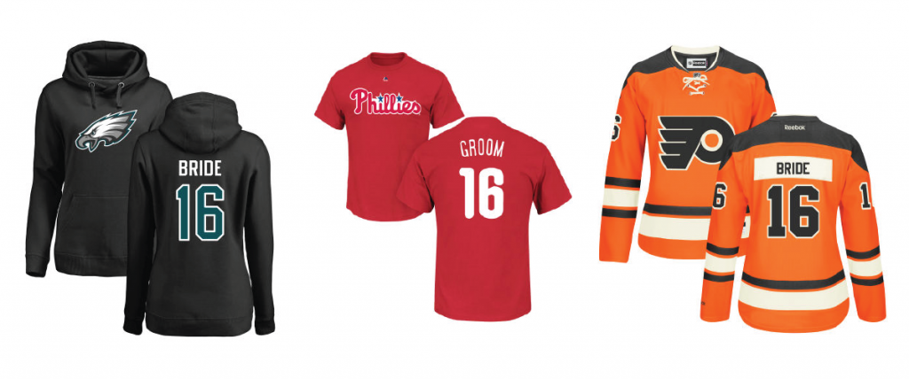 Custom shirts and jerseys for your Philadelphia wedding - Eagles, Phillies, Flyers