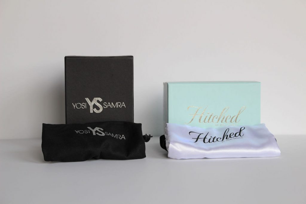 Yosi Samra shoe boxes & bags, bridal Hitched line
