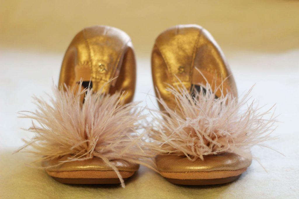 """Yosi Samra bridal """"marry me maribou"""" flats in rose gold & blush"""