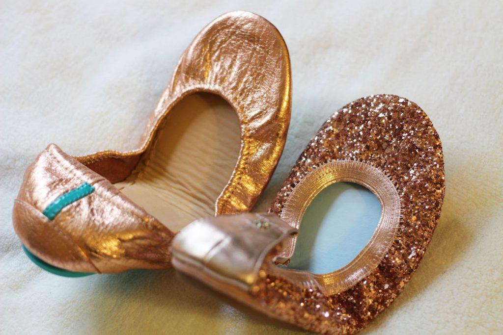 Yosi Samra bridal Serana glitter flats in rose gold and Tieks rose gold flats