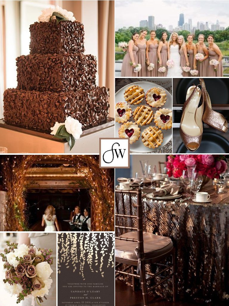 Inspiration board with shades of brown for an elegant fall wedding