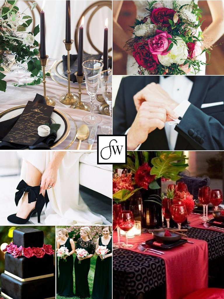 A dramatic & elegant Valentine's Day wedding inspiration board - featuring black and rich shades of pink.