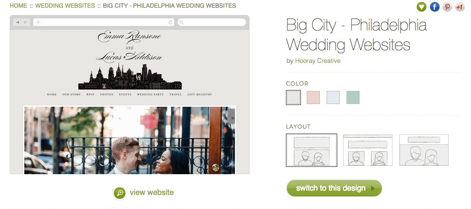 Minted wedding website review, Smartly Wed: Philadelphia theme