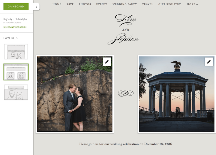 Minted wedding website review, Smartly Wed: layout options
