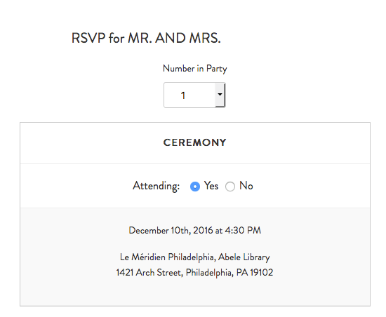 Minted wedding website review, Smartly Wed: RSVP details